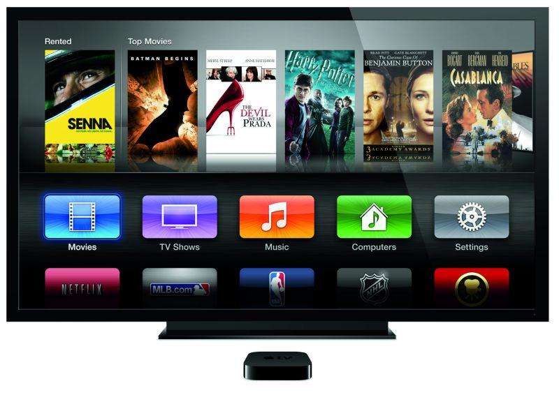 Apple TV mit Fernseher und Filmauswahl