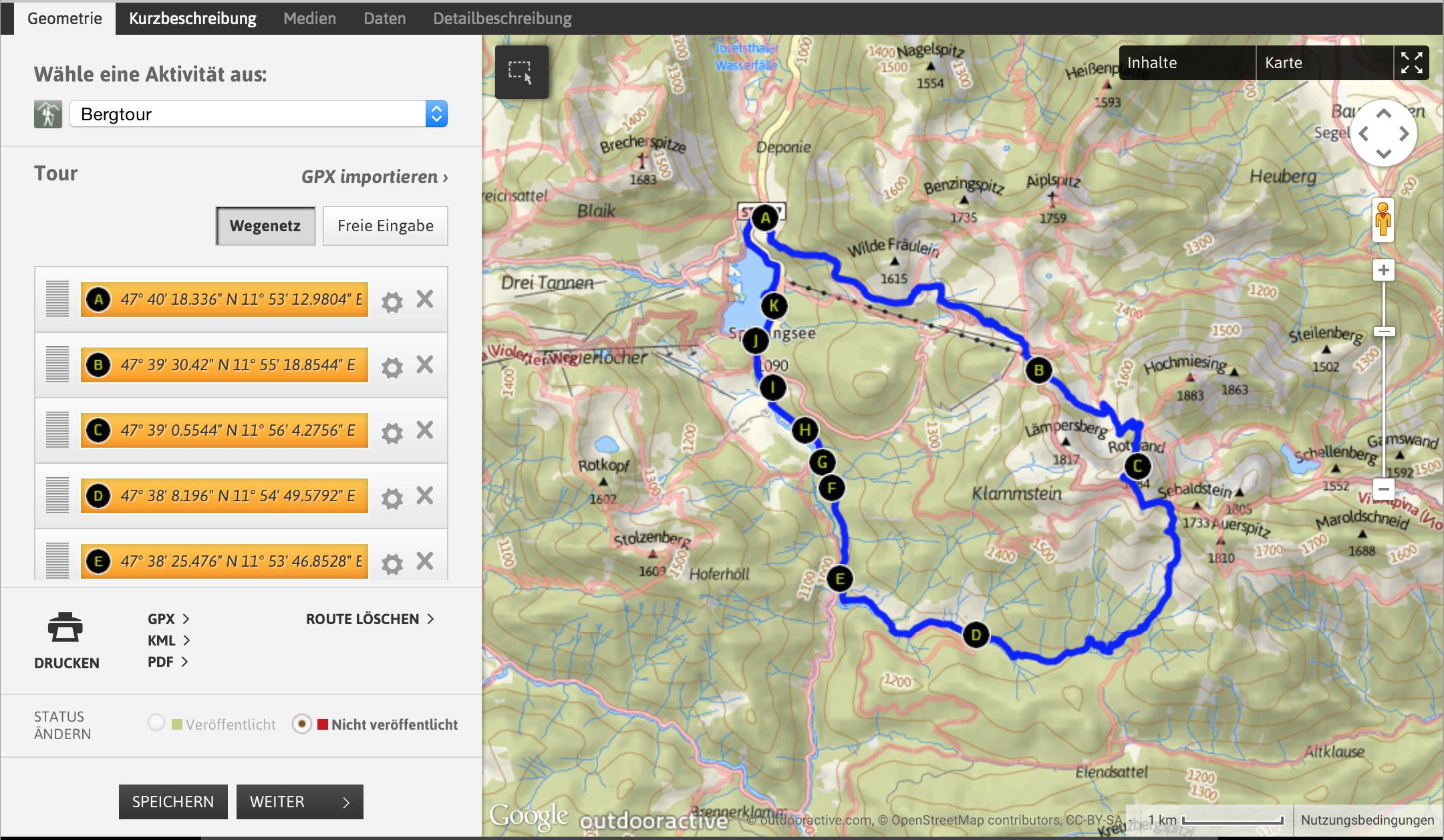 Tourenplaner mit vernetztem Computer und Smartphone: AlpenVerein App Tour planen Wegpunkte