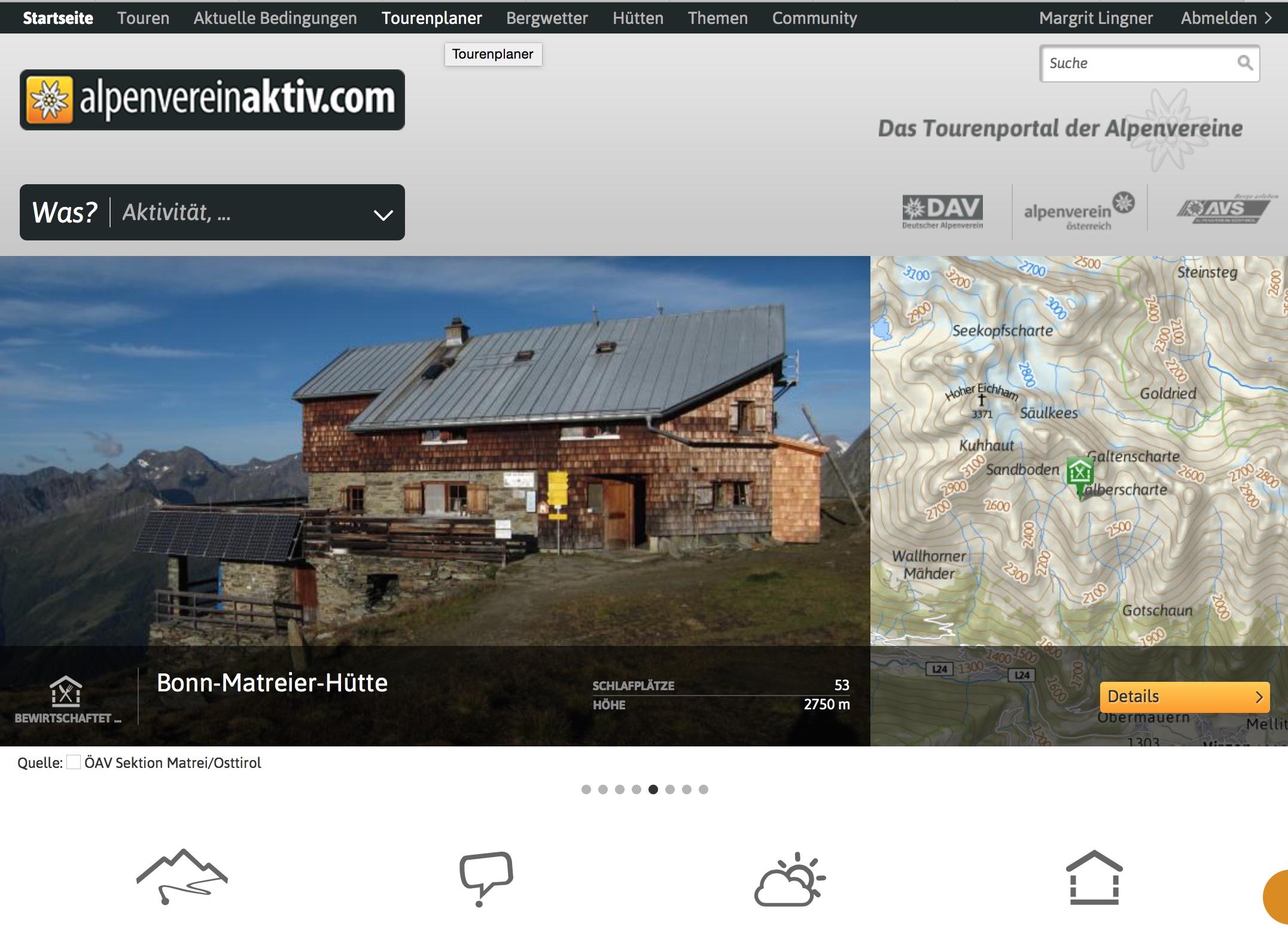 Tourenplaner mit vernetztem Computer und Smartphone: AlpenVerein App Tour planen