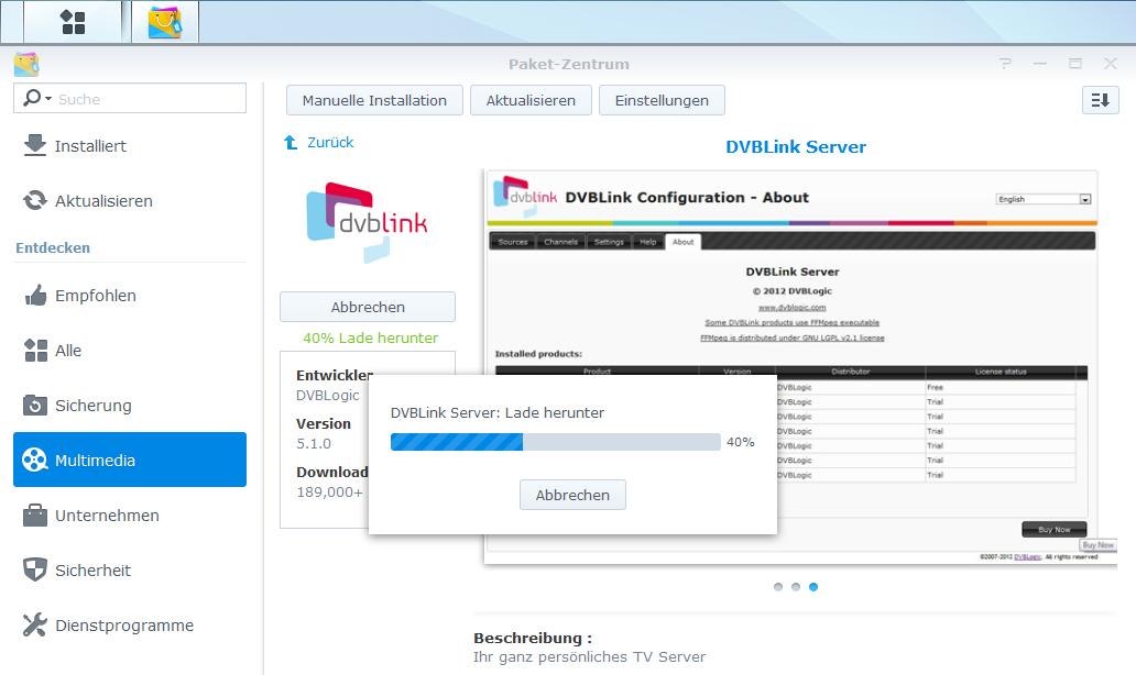 DVBLink als NAS-App - vernetztes Fernsehen