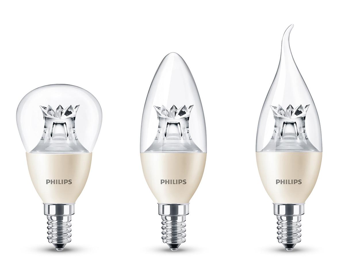 """Energiesparen und Vernetzung - Drei Modelle im Vergleich: Die Tropfen-, Kerzen und Schwanenhals-Modelle aus der """"Hue WarmGlow""""-Serie von Philips (vl.n.r)."""