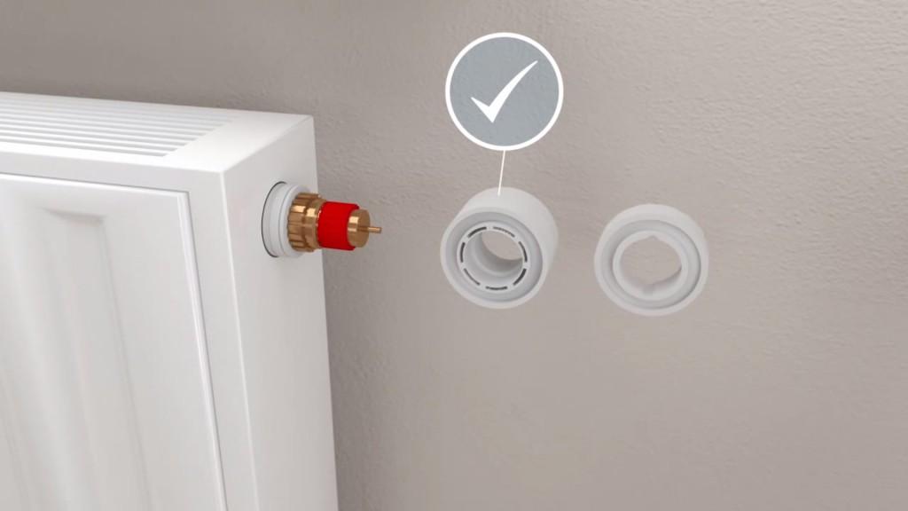 Smarte Heizkörperthermostate - Devolo Home Control: Adapterring anbringen