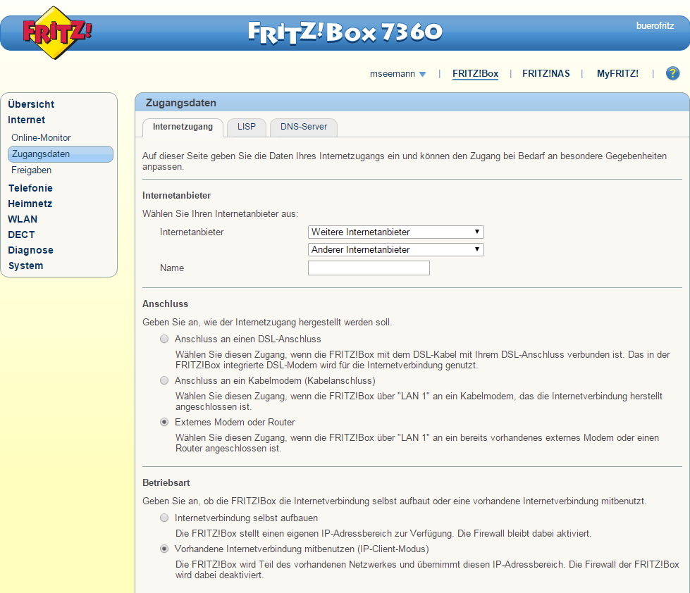 WLAN-Router als Access Point: Fritzbox - Einstellungen