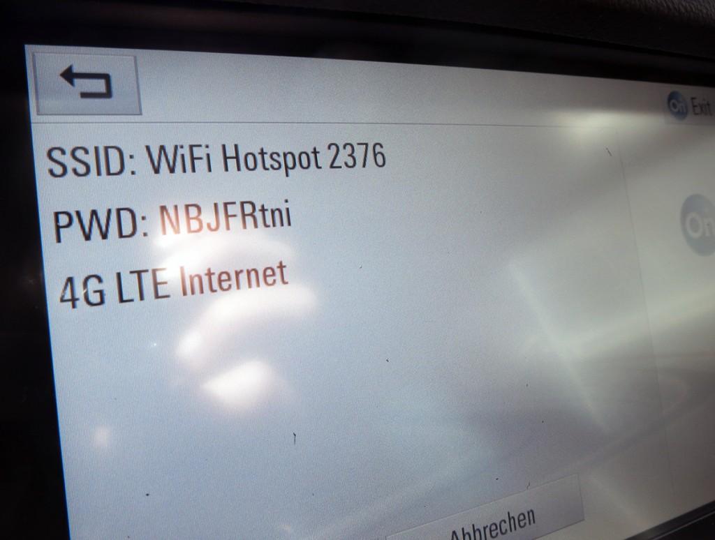 Opel Astra 2015 OnStar Hotspot Screen