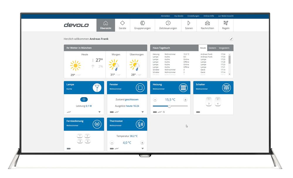 Smart-Home per Fernseher steuern: Devolo Home Control auf Philips 7600er Serie