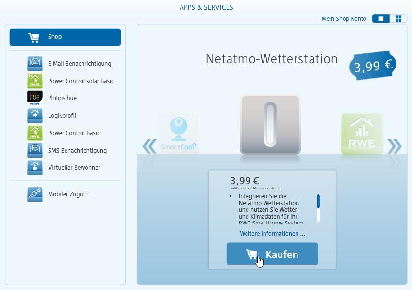 Netatmo Wetterstation in RWE SmartHome einbinden