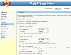 Dualband Fritzbox 7490 GUI