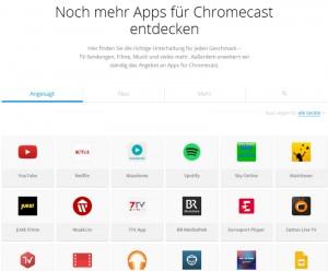 Chromecast-fähige Apps