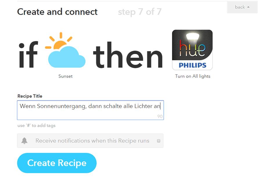 Philips Hue mit IFTTT verbinden: Licht an bei Dunkelheit