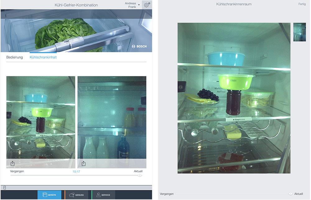 Fotos der Kameras vom Kühlschrank
