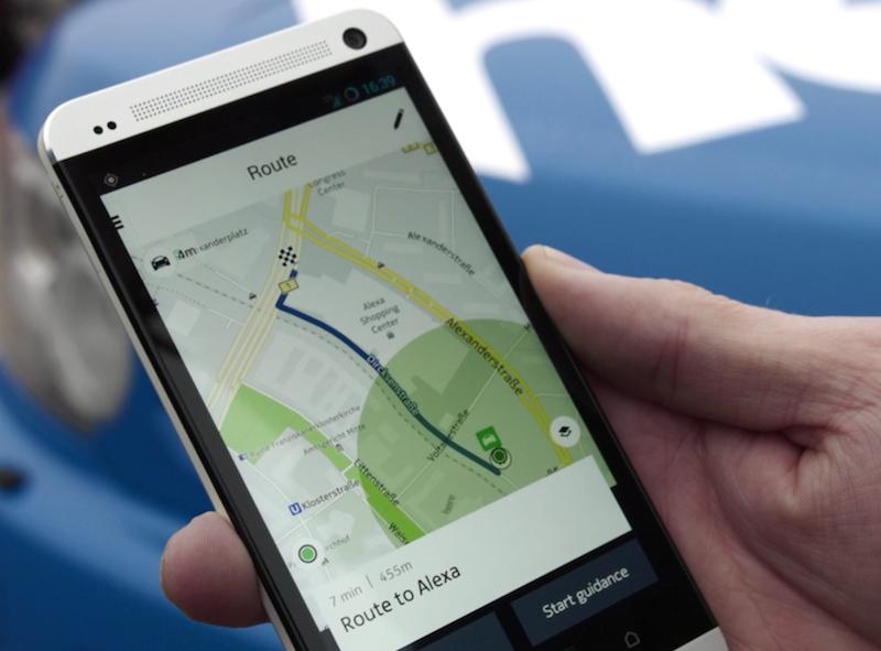 Die Here App hält alle wichtigen Funktionen bereit. selbst der nächste Taxistand wird angezeigt.