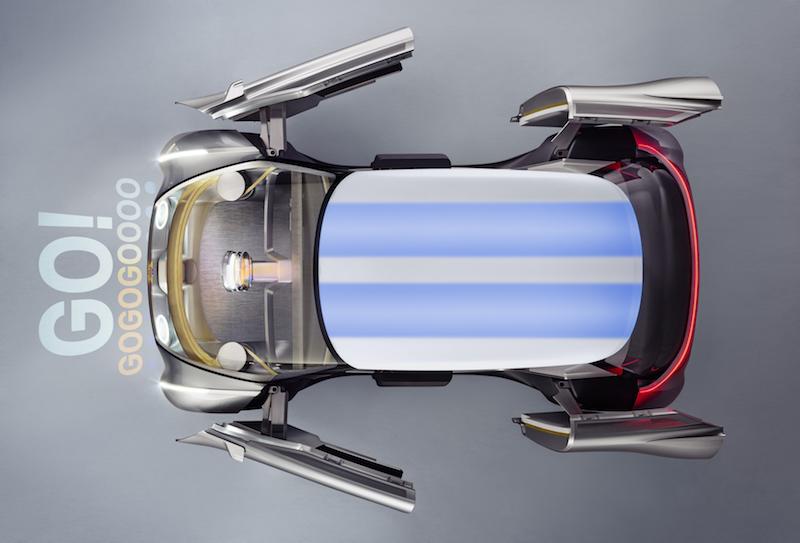 Der Mini von oben, selbst das Dach passt sich den Wünsche des Fahrers an. Per Vernetzung werden Informationen über den Nutzer vorarb genutzt.