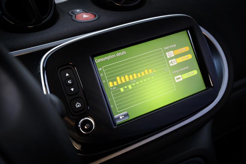 Praxistest Smart Fourfour ED - der große Monitor zeigt naben guter Strassenkarten auch den Energieverbrauch.