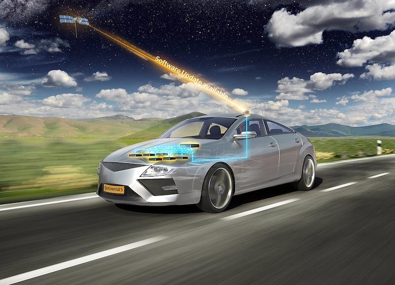 Continental Smart Car - der Weg in die Werkstatt zum Spftware-Update könnte bald der Vergangenheit angehören. Continental arbeitet am Software-Update per Satellit.