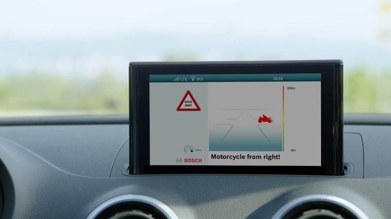 Bosch Connected – Schutzschild für Bikes. So könnte der Warnhinweis im Auto aussehen.