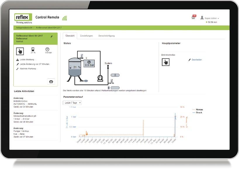 Reflex Control Remote mit CENTERSIGHT Webinterface